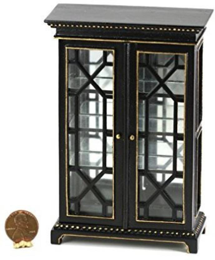 Dollhouse Miniature 112 Scale Black Cabinet With Glass Doors And