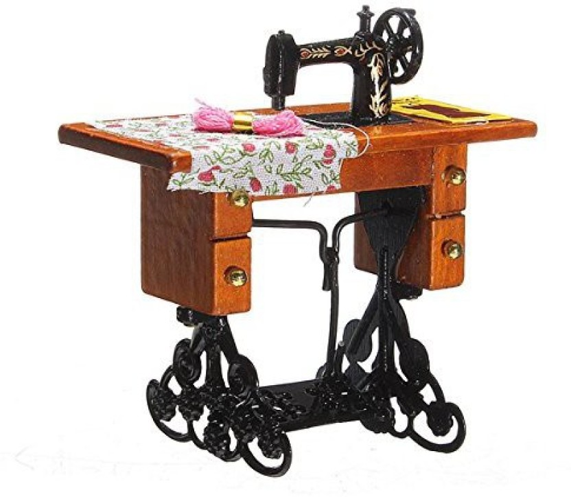 1:12 Dollhouse Vintage Metal Black Table Sewing Machine Miniature Decor Toy Gift