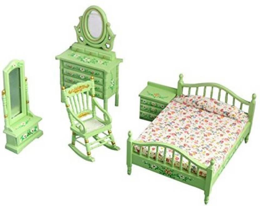Bestlee 1 12 Green Wooden Dollhouse Bedroom Furniture Set 5pcs 1