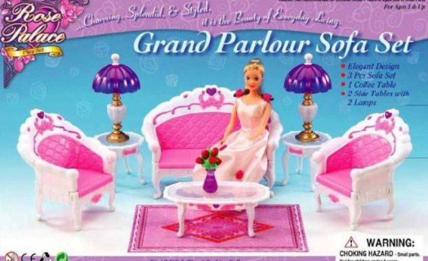 Generic Barbie Size Dollhouse Furniture- Living Room Grand Parlour Sofa Set