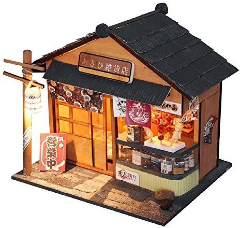 Famulei Diy Dollhouse Miniature Furniture Kit With Led Light