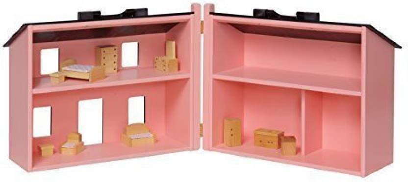 Amishtoyboxcom Large Wooden Pink Doll House With 16 Piece Doll House