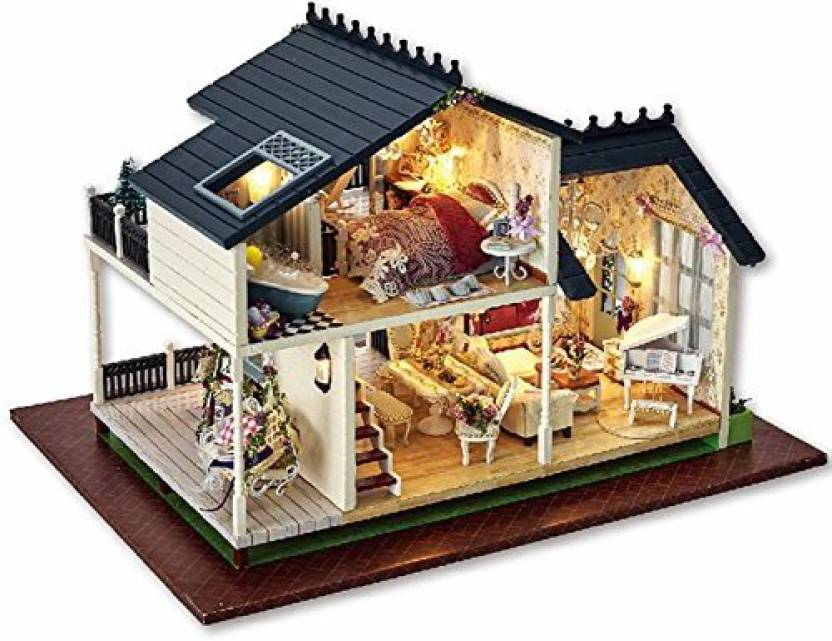 Famulei Wooden Handmade Dollhouse Miniature Diy Kit Provence