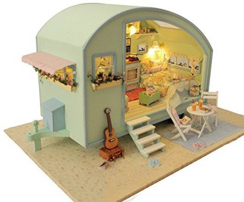 Cutebee Diy Wooden Dollhouse Miniature Furniture Kit With Led Light