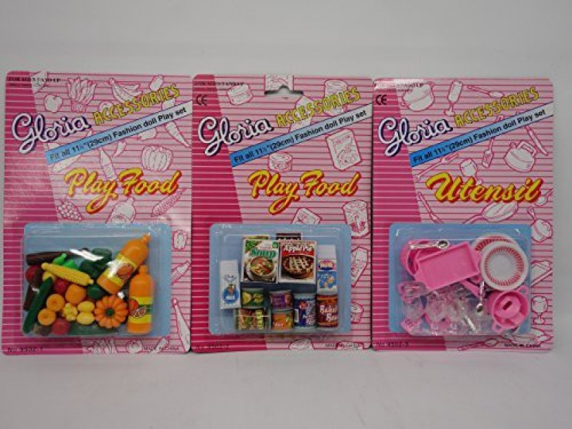 GLORIA DOLL HOUSE FURNITURE  SIZE Fridge Food Accessories SET+Utensil Play Set
