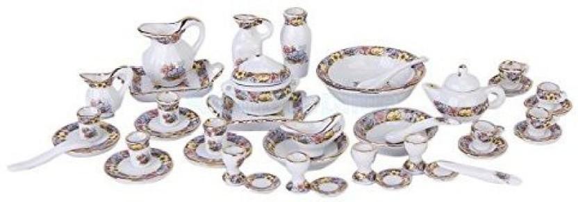 7 Tiny White Coffee and Tea Set Dollhouse Miniatures Food
