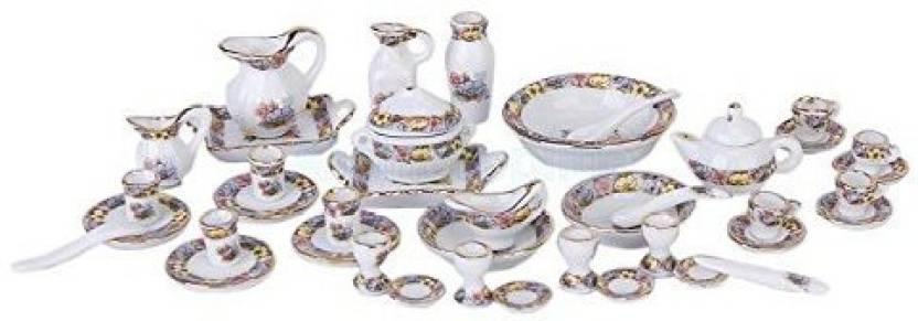 ef6c201aa02be Alpinetopline 40Pcs 12Th Dollhouse Mini Dining Ware Porcelain Dinner Tea  Set Dish Cup Plate