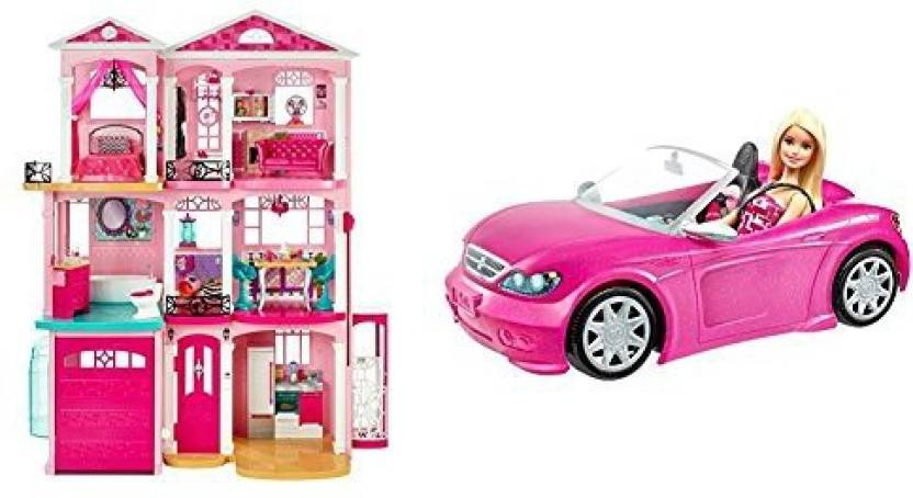 Generic Barbie Dreamhouse With Barbie Convertible And Doll Pack