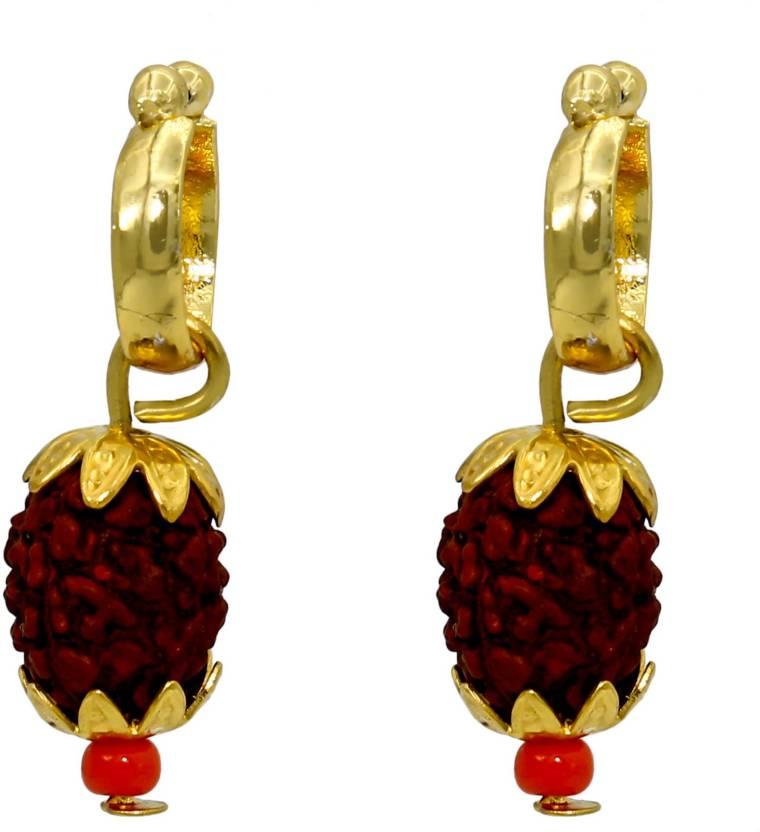 Flipkart.com - Buy Memoir Brass Gold plated rudraksh earring Men ...