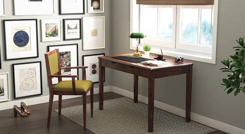 The Attic Solid Wood Study Table Free Standing, Finish Color   Walnut