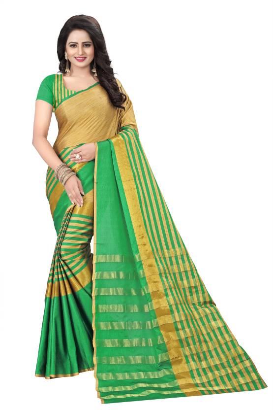 47978a39af3f00 Buy Cartyshop Striped Banarasi Cotton Silk Green Sarees Online ...