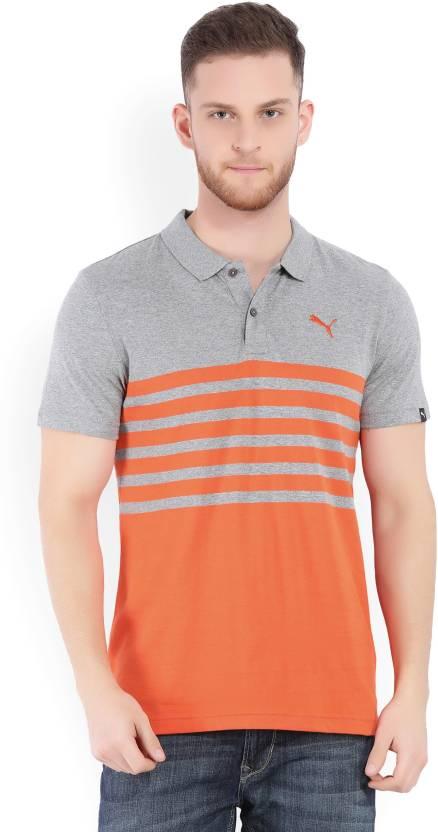 3fa3ae9f51 Puma Striped Men's Polo Neck Grey, Orange T-Shirt - Buy Medium Gray  Heather-Cherry T Puma Striped Men's Polo Neck Grey, Orange T-Shirt Online  at Best Prices ...