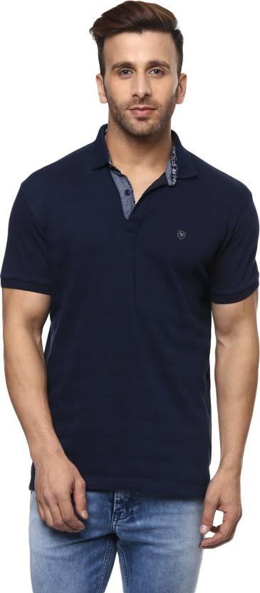 b2e1bd9080ed Mufti Solid Men Polo Neck Dark Blue T-Shirt - Buy Mufti Solid Men ...