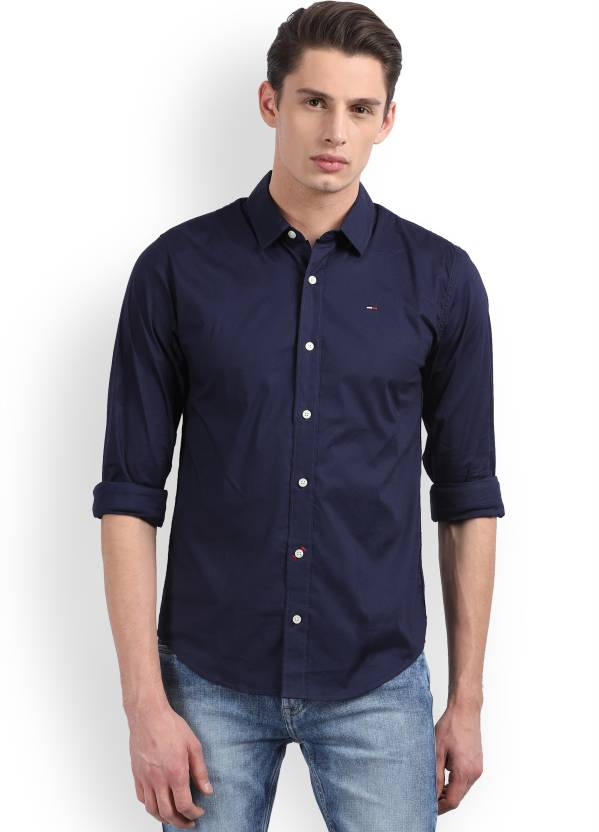 b15cd84296b3 Tommy Hilfiger Men s Solid Casual Spread Shirt - Buy Blue Tommy Hilfiger  Men s Solid Casual Spread Shirt Online at Best Prices in India