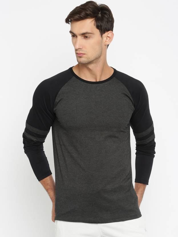 ad1569162d523 SayItLoud Color block Men Round Neck Black, Grey T-Shirt - Buy Black  Melange, Black SayItLoud Color block Men Round Neck Black, Grey T-Shirt  Online at Best ...