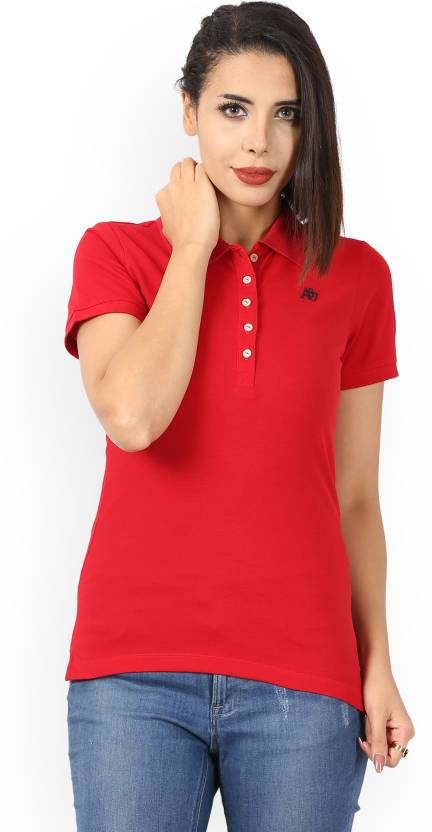 7b31f716 Aeropostale Solid Women Polo Neck Red T-Shirt - Buy CANDY RED Aeropostale  Solid Women Polo Neck Red T-Shirt Online at Best Prices in India |  Flipkart.com
