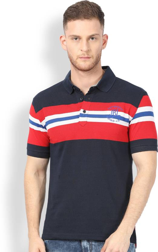 c0a44dd30e4 John Players Striped Men Polo Neck Multicolor T-Shirt - Buy True Red John  Players Striped Men Polo Neck Multicolor T-Shirt Online at Best Prices in  India ...