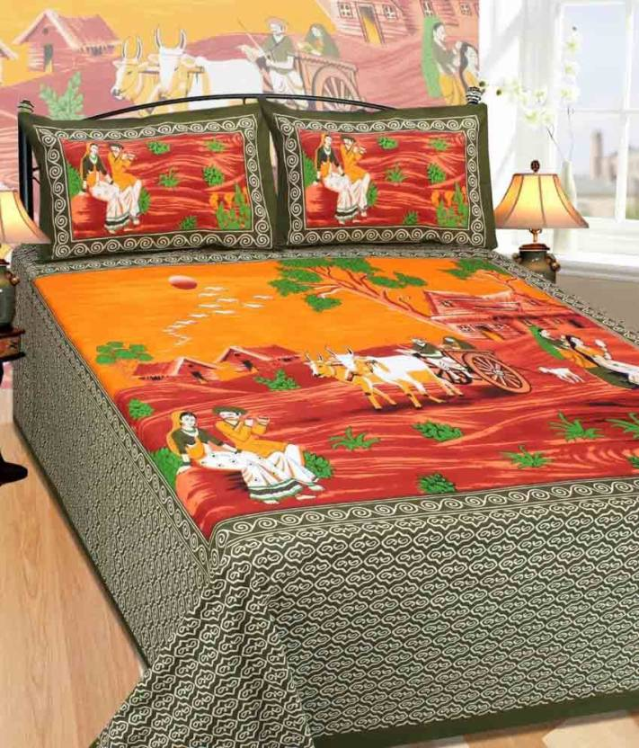 29ca91258de Vie Loom Floral Bedsheet (100 % Cotton Comfort Rajasthani Jaipuri  Traditional Double Bedsheets with 2