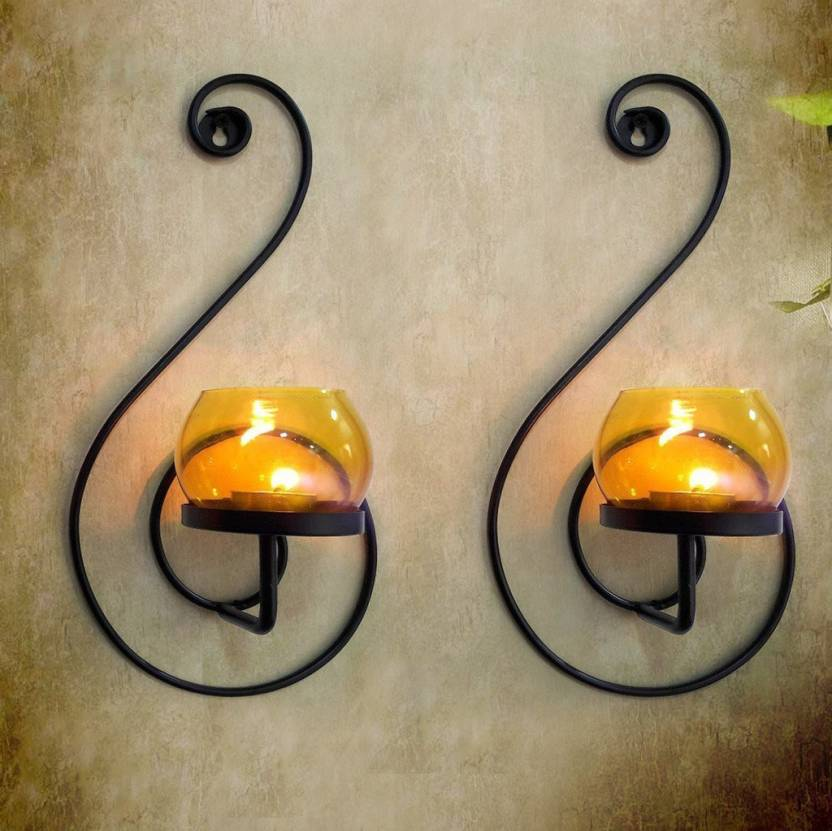 Collectible India Pair Of 2 Metal Tealight Candle Holder Wall Hanging Lamp Sconces Tea Light