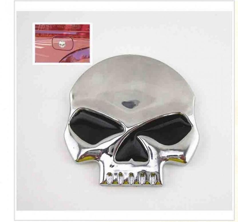 3D Skull Head Skeleton Logo Auto Car Motorcycle Decal Sticker Metal Emblem Badge
