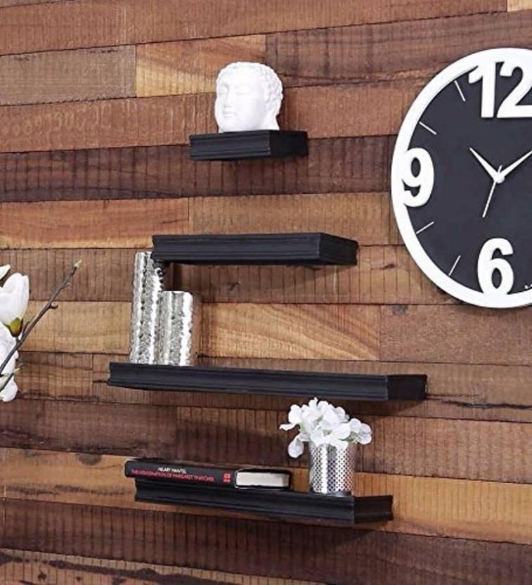 15f536cbb3e Onlineshoppee Beautiful Black Rectangular Wooden Wall Shelf (Number of  Shelves - 4
