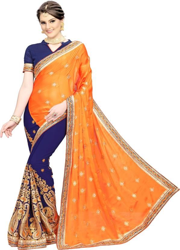130e8cb90a Rudra Fashion Embroidered, Embellished Bollywood Silk Saree (Multicolor)