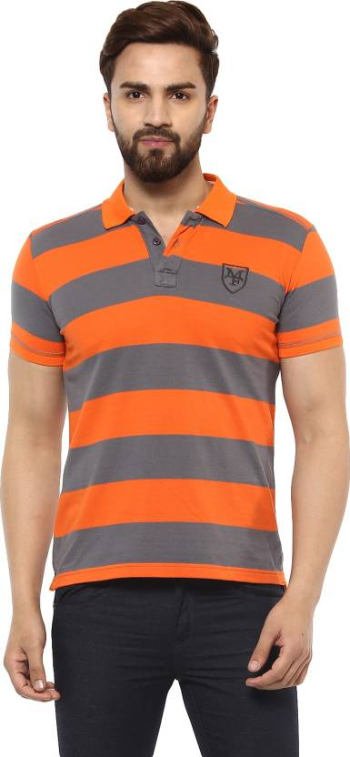 0c138e3c Mufti Striped Men Polo Neck Orange, Grey T-Shirt - Buy Mufti Striped ...