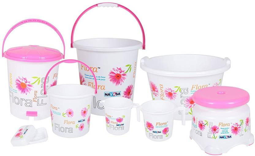 Nayasa Flora Bathroom Set 8 Pcs Set 20 L Plastic Bucket Price In