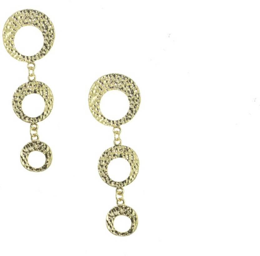 Shipgig Gold Plated Designer Danglers Metal Drop Earring