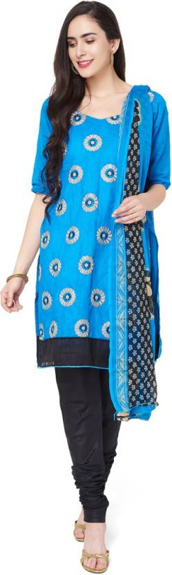 Manvaa Cotton Embroidered Semi stitched Salwar Suit Dupatta Material