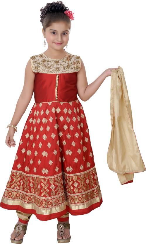 e802a2033a Saarah Girl's Festive & Party Kurta, Churidar & Dupatta Set (Maroon Pack of  1)