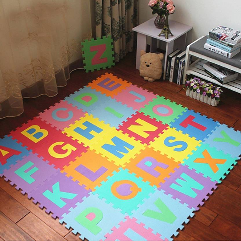 SHRIBOSSJI KIDS PLAY BIG MAT COLORFUL FOAM TEACHING EDUCATION TOOLS TOY MATS CHILDREN 26 PCS ALPHABET FOR GIFT (Multicolor)