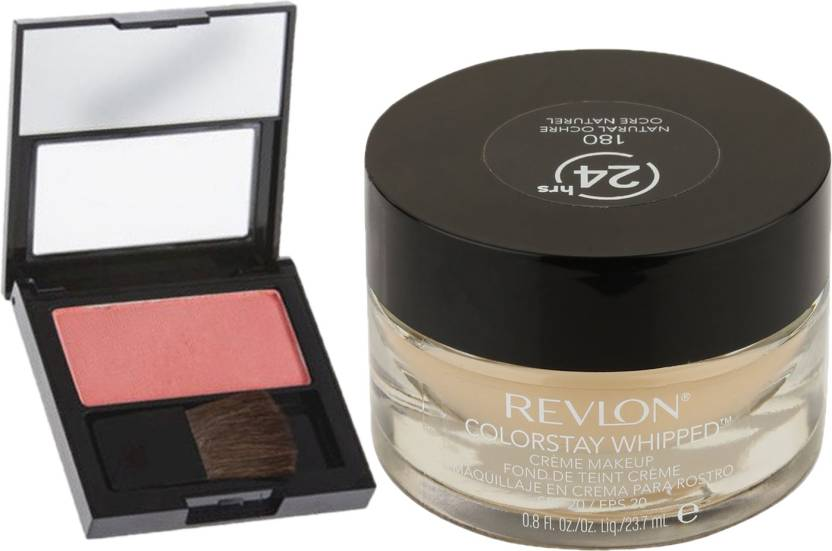 Revlon Christmas combo Whipped Creme Makeup Natural Ochre & Powder Blush Classy Coral (Pack of 2)