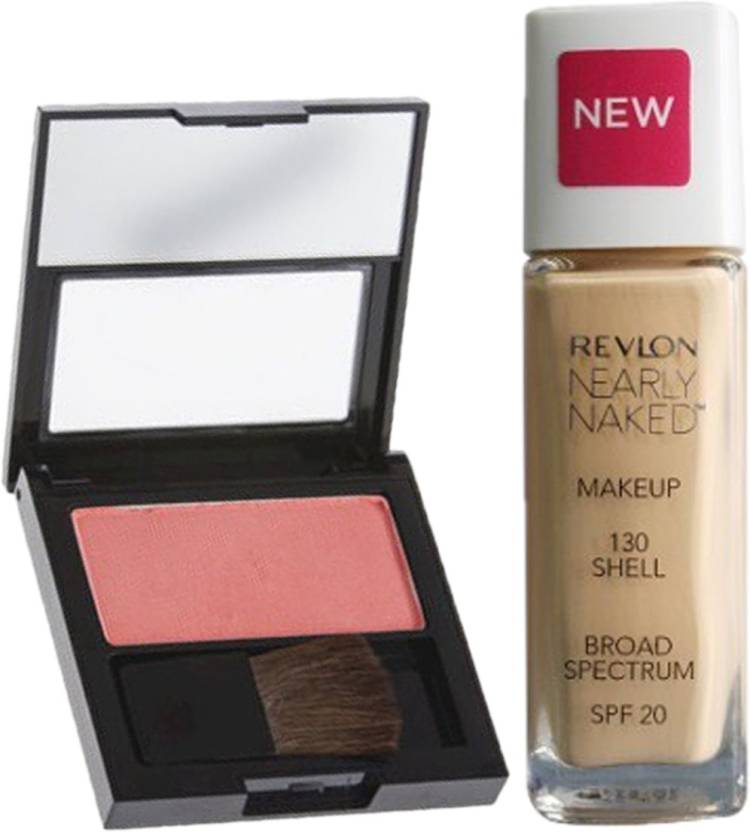 Revlon Christmas combo Nearly Naked Makeup Shell & Powder Blush Classy Coral (Pack of 2)