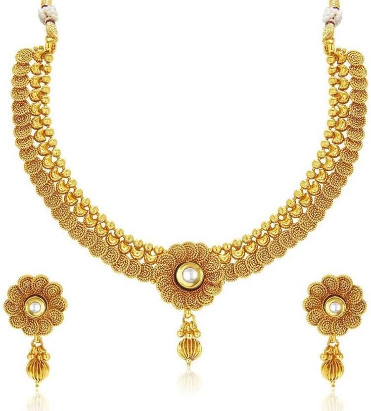 c2b4afa9163 Meenaz Meenaz Jewellery Gold plated Jewellery Set for women with Ear rings  for girls Traditional One gram Copper Pearl Kundan Pendant Necklace Set  Earrings ...