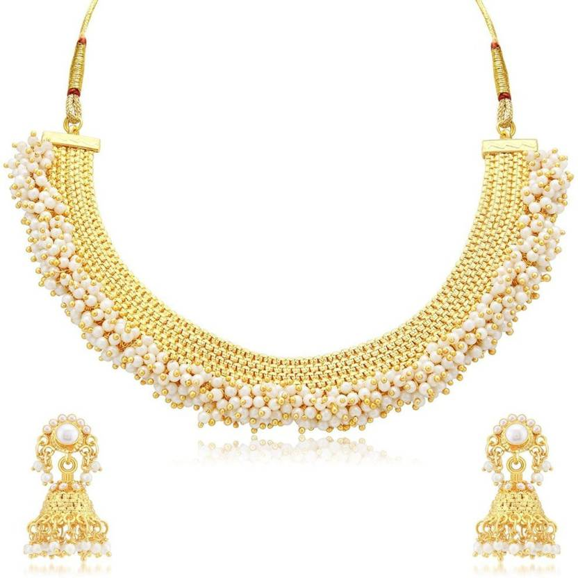 e4fc02e5b4e8dc Meenaz Meenaz Jewellery Gold plated Jewellery Set for womens with Ear rings  for girls party wear Traditional One ...