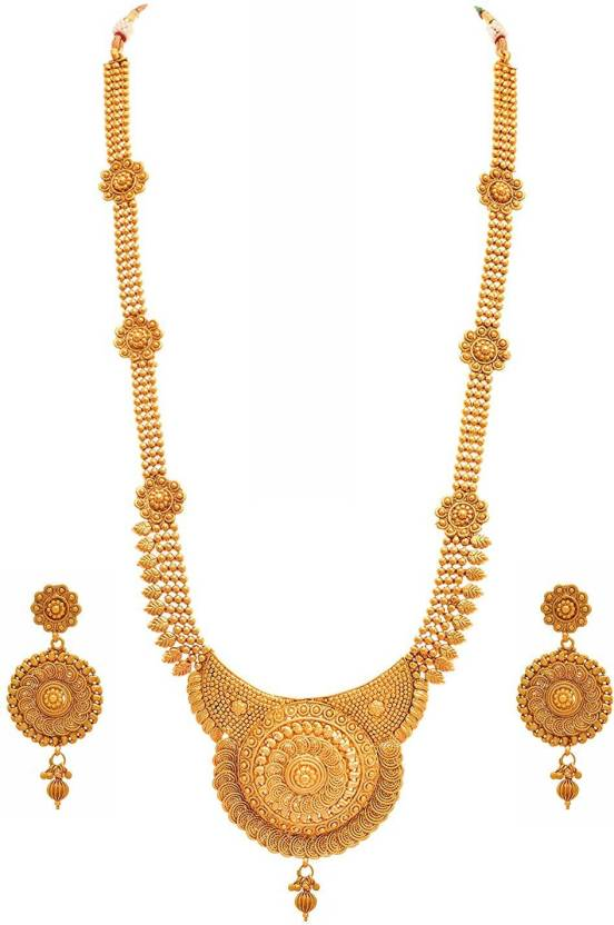 e3eca65ec24 Meenaz Meenaz Jewellery Traditional Long haram Rani Set for womens girls  with Ear rings for girls ...