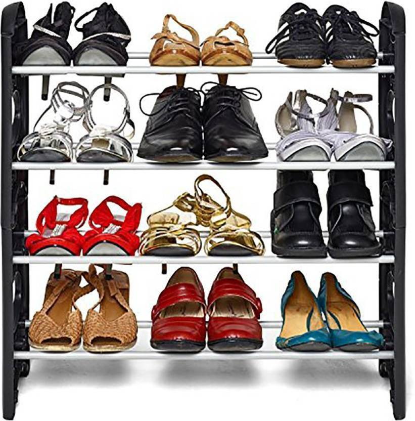 Surya Plastic Collapsible Shoe Stand Black, 4 Shelves