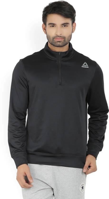 390df228c8 REEBOK Full Sleeve Solid Men's Sweatshirt - Buy Black REEBOK Full Sleeve  Solid Men's Sweatshirt Online at Best Prices in India | Flipkart.com