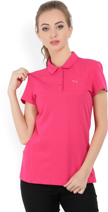 87b6e11d Puma Solid Women's Polo Neck Pink T-Shirt - Buy Pink Puma Solid Women's Polo  Neck Pink T-Shirt Online at Best Prices in India | Flipkart.com