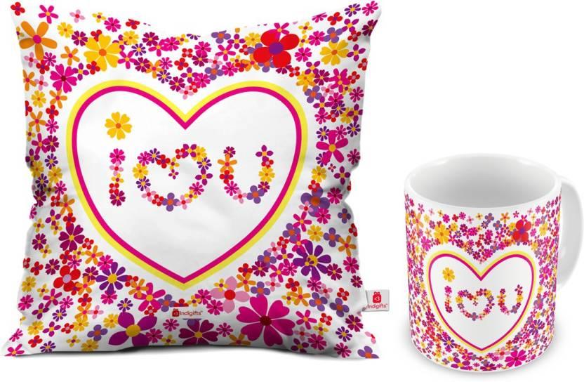 Indigifts Designer (idscomac155) Cushion, Mug Gift Set