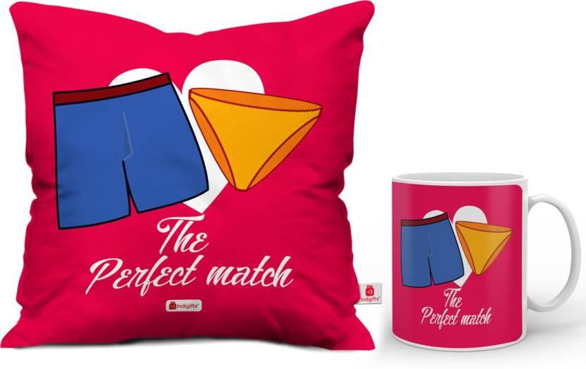 Indigifts Designer (idscomac056) Cushion, Mug Gift Set
