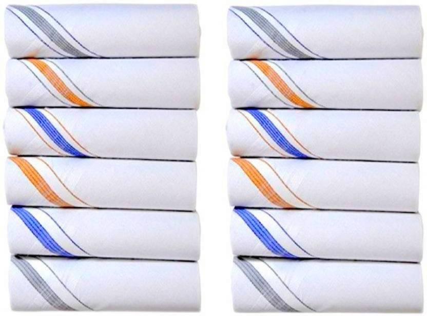 LooMantha Set Of 12 Pc Premium Quality Men's Women's Pure Cotton Hanky  Handkerchief