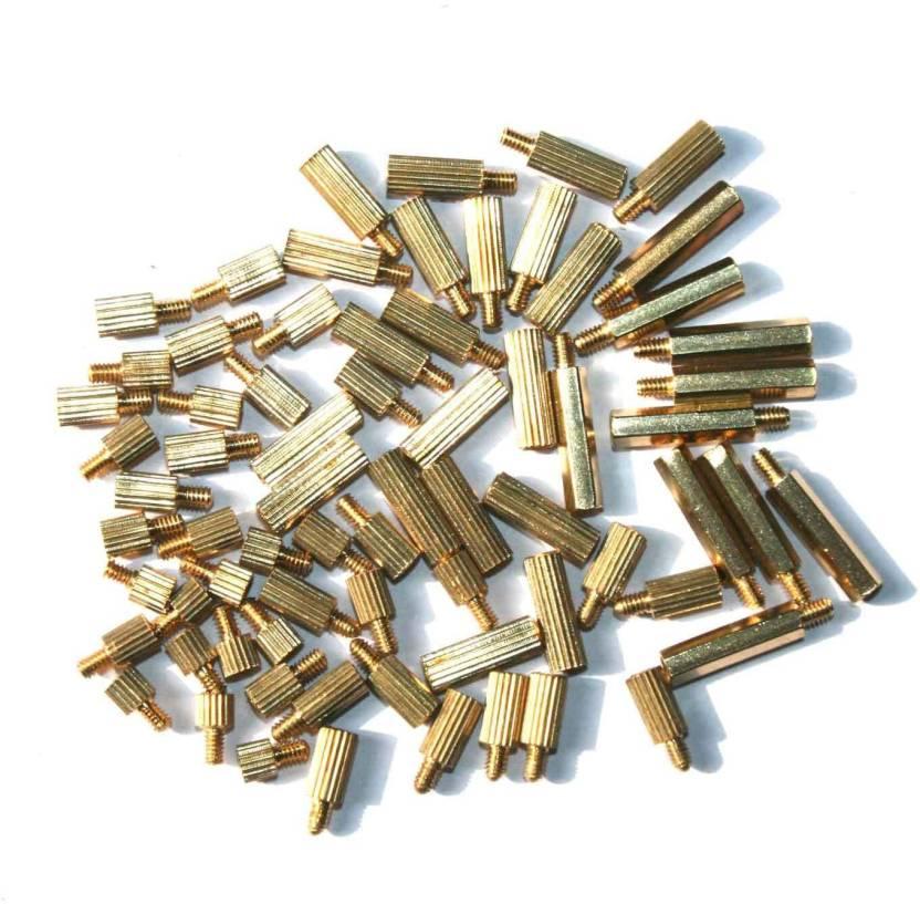 Adraxx 70 Pcs Cylindrical Brass M2 PCB Board Standoff