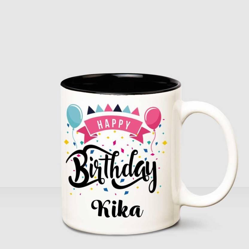 Huppme Happy Birthday Kika Inner Black Printed Personalized Coffee