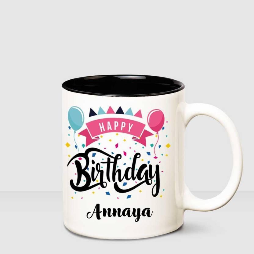Huppme Happy Birthday Annaya Inner Black Printed Personalized Coffee