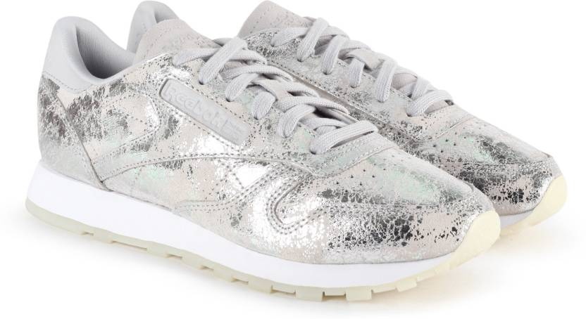REEBOK CL LTHR TEXTURAL Running Shoes For Women Buy SILVER