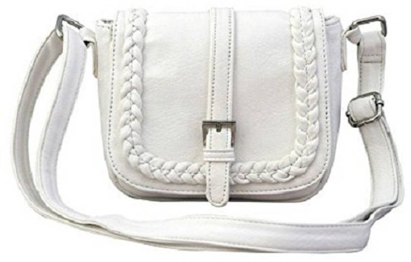 9a4b629d5123 ayeshu Women Casual White Genuine Leather Sling Bag White - Price in India