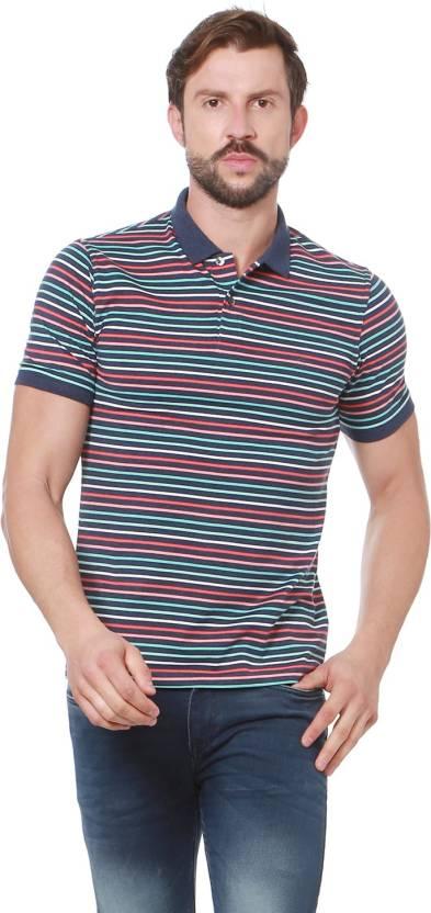 82fea00829e Peter England Striped Men Polo Neck Dark Blue T-Shirt - Buy Peter England  Striped Men Polo Neck Dark Blue T-Shirt Online at Best Prices in India