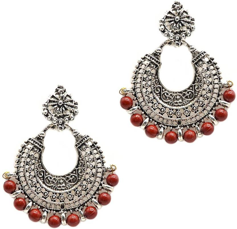 833b0ed77 iKraft Oxidized Chandbali Earrings with Brown Beads German Silver Plated  Antique Finish Chandelier Earrings for Gilr